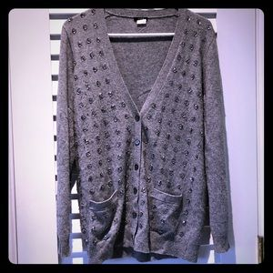 J Crew Sparkly Holiday Sweater (Small) Grey/Silver